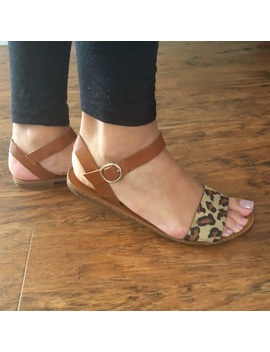 Leopard Print Ankle Strap Sandals by Poshmark