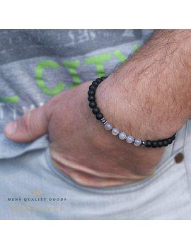 6mm Beaded Bracelet Black And Grey Bracelet Onyx And Agate Bracelet 6mm Bracelet Black Bead Bracelet Onix Agata Achat Agat Perlen Armband by Sb Sjewel