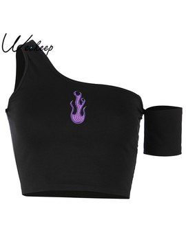 Weekeep Women Black One Shoulder Tank Top Summer Sexy Black Embroidery Crop Top Fashion Streetwear Backless Cropped Tank Tops    by Weekeep
