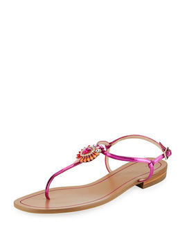 Baxley Metaliic Crystal Pendant Flat Sandal by Pelle Moda