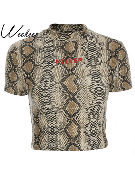 Weekeep Women Sexy Bodycon Snake Skin Bodysuit 2018 Summer Fashion Letter Print Cropped T Shirt Fashion Streetwear O Neck Tops   by Weekeep
