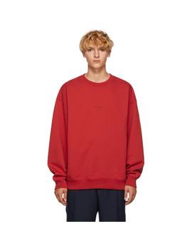 Red Distressed Logo Sweatshirt by Acne Studios