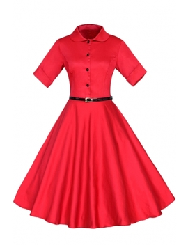 Vintage Button Fr Ont Collared A Line Bleted Dress by Oasap