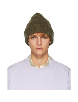 Green Ribbed Beanie by Acne Studios