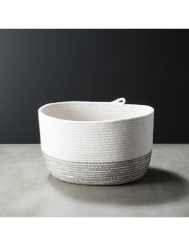 Nile Large Black And White Woven Basket by Crate&Barrel