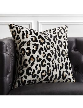 "20"" Embroidered Cheetah Print Pillow by Crate&Barrel"