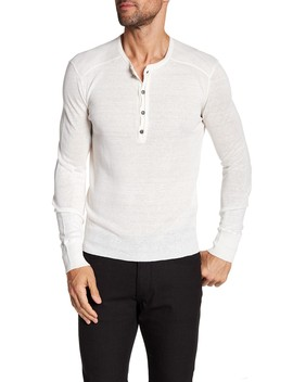 Long Sleeve Linen Henley Sweater by John Varvatos Collection