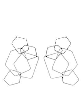 Stately Steel Interlocking Pentagon Design Dangle Earrings by Stately Steel