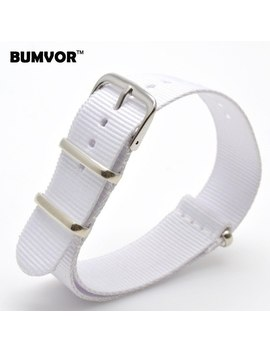 Vintage Retro Ladies Women Nato 18 Mm Army White Nylon Military Fabric Woven Watch Watchband Strap Band Buckle Belt 18mm by Bumvor