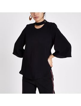 Black Button Neck Blouse by River Island