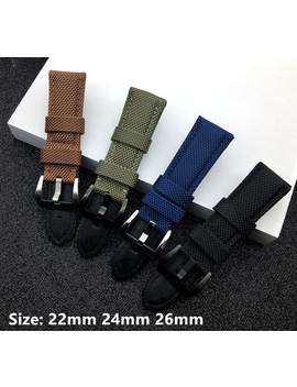 Fabric Vintage Black Canvas Nylon Leather 22mm 24mm 26mm Watchband Watch Band Bracelet Buckle Clasp For Panerai Strap Logo On by Mrs Win
