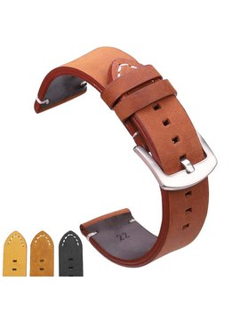 Watchbands 18 20 22mm Italian Genuine Leather Dark Brown Black Man Women Handmade Vintage Wrist Watch Band Strap Metal Buckle by Hengrc