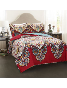 Lush Decor Boho Chic Quilt Red 3 Pc Set by Lush Decor