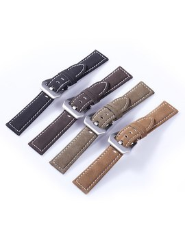New Arrival Black Brown Coffee Olive Green Retro Genuine Watch Band Vintage Real Leather Wrist Strap Belt 18mm 20mm 22mm 24mm by Dahase