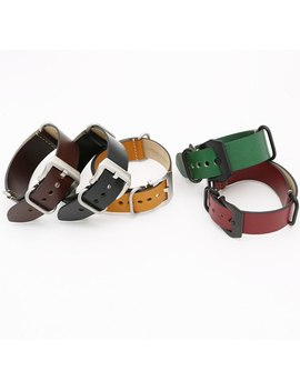24mm Light Dark Brown Black Green Red Vintage Watch Band Strap Belt Leather Silver Brushed Screw Buckle Luxury Nato Zulu Ring by Carlywet