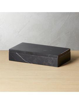 Large Black Marble Box by Crate&Barrel