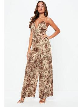 Brown Leopard Satin Jumpsuit by Missguided