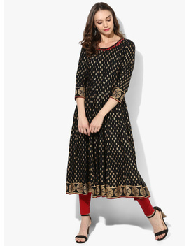 Round Neck Black & Gold Print Anarkali With Mirror Embroidery On Neck & 3/4 Th Sleeves by Sangria