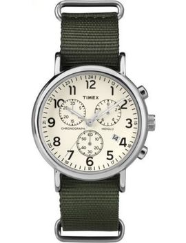 "Timex Tw2 P71400, ""Weekender"" Green Nylon Watch, Chronograph, Date, Indiglo by Timex"