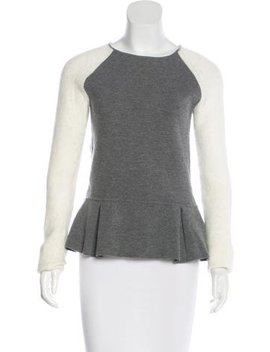 Timo Weiland Knit Trimmed Peplum Sweater by Timo Weiland