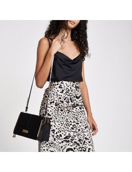 Black Structured Cross Body Bag by River Island