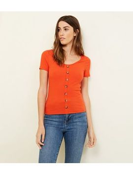 Bright Orange Button Through Ribbed T Shirt by New Look
