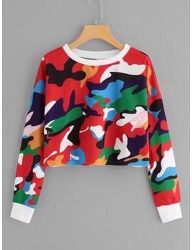 Camo Print Crop Sweatshirt by Shein