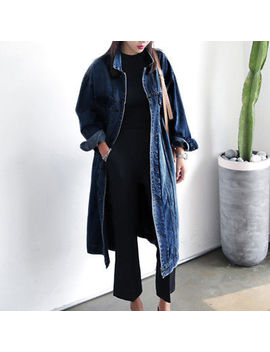Women Plus Denim Jeans Buttons Down Long Sleeve Coat Jacket Cardigan Kaftan Tops by Unbranded