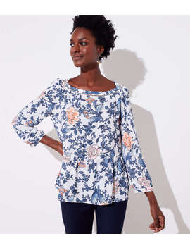 Floral Cutout Peplum Blouse by Loft