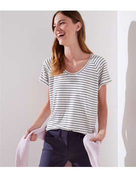 Stripe Cuffed Dolman Tee by Loft