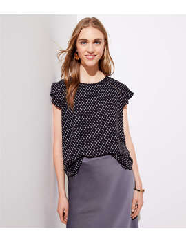 Dotted Tie Back Flutter Top by Loft