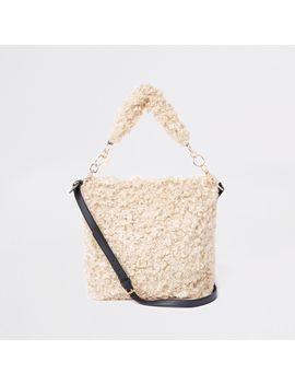 Beige Textured Borg Slouch Bag by River Island