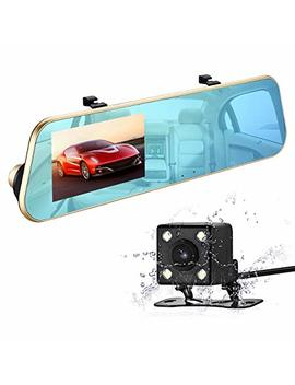 Is Young Dual Lens Mirror Dash Cam Mirror Camera Car Dashboard Camera Rear View Mirror Front And Rear 1080 P Full Hd Video Car Driving Recorder, Dvr With G Sensor, Loop Recording, 4.3 Inch 170° Wide View Sight by Is Young