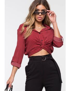 Stripe Twist Front Shirt by A'gaci