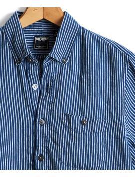 Short Sleeve Italian Indigo Stripe Popover Shirt by Todd Snyder
