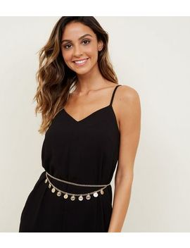 Gold Drape Chain Coin Belt by New Look