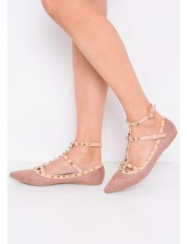 Studded T Bar Pointed Faux Suede Flats Dusty Pink by Trendeo