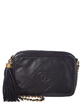 Chanel Black Quilted Lambskin Leather Mini Camera Bag by Chanel