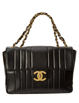 Chanel Black Quilted Lambskin Leather Jumbo Single Flap Bag by Chanel