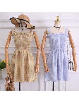Sleeveless Plaid A Line Dress by Hanpan