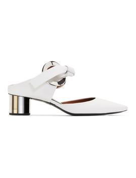White Grommet Block Heel Mules by Proenza Schouler