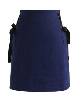 Be Spoiled Lace Up Denim Bud Skirt In Navy by Chicwish