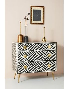 Optical Inlay Three Drawer Dresser by Anthropologie