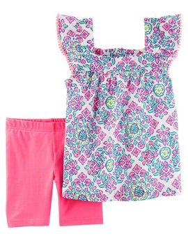 2 Piece Medallion Print Top & Tumbling Short Set by Carter's