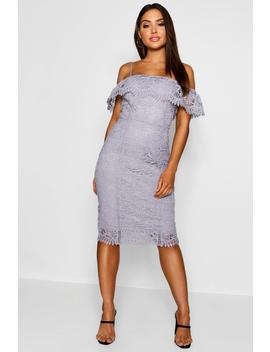 Crochet Cold Shoulder Midi Dress by Boohoo