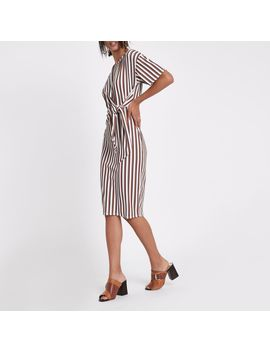 Cream Stripe Rib Tie Front Midi Dress by River Island