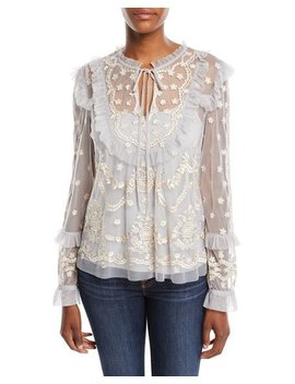 Flapper Long Sleeve Embroidered Ruffle Top by Needle & Thread