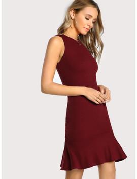 Frill Hem Rib Knit Tank Dress by Shein