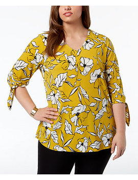 Plus Size Floral Print Tie Sleeve Top, Created For Macy's by Alfani