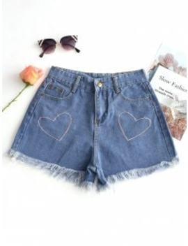 Heart Embroidered Frayed Hem Denim Shorts   Denim Blue Xl by Zaful